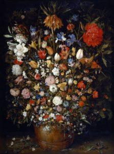 Flowers in a wooden vessel